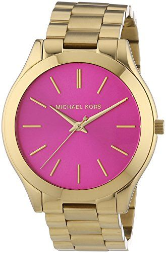Michael Kors Women s Quartz Watch with White Dial Analogue Display and  Silver… 23c2741acf