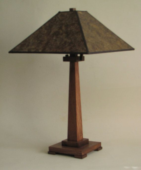 Mission wood lamp with amber mica shade $225