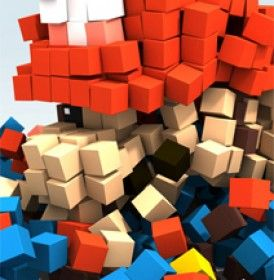 An Abstract Pixelated Mario Created With Colored Blocks Game Art