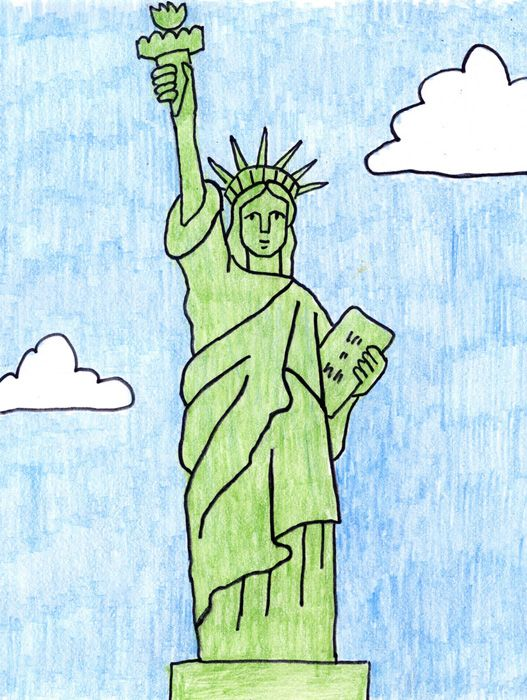 Draw the Statue of Liberty | Statue of liberty drawing, Easy ...