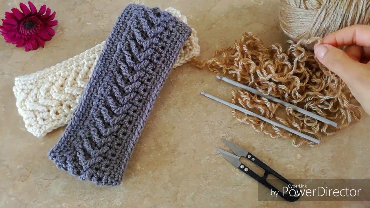 Banda diadema en punto flecha a crochet hearband tiaras - Diademas de ganchillo ...