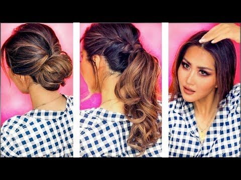 1 min everyday hairstyles for work with puff easy braids updo