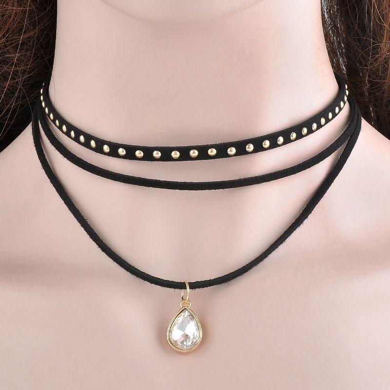 Steampunk 3 Layers Black Ribbon Chocker Necklace Women Fashion Jewelry Bib  Necklace Collier Bijoux Femme Collares