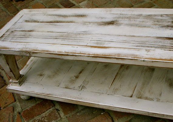 Wood Coffee Table Reclaimed Wooden Shabby Handmade Country Cottage Antique White
