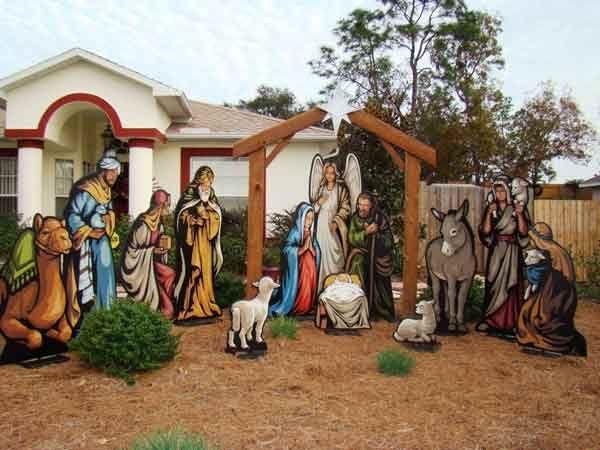 Joy Nativity Yard Sign Christmas Yard Decorations Christmas Yard Art Christmas Yard