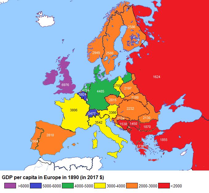 Map 0f Europe.Gdp Per Capita In Europe 1890 Vs 2017 Economic Map Europe Map