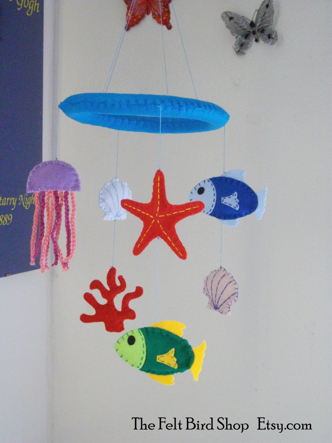 Sea Felt Baby Mobile. Baby mobile with fishes and seashells. Sea style baby mobile. - pinned by pin4etsy.com