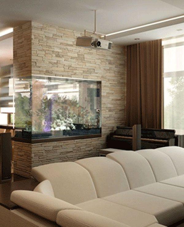 Acquario dividere 2 ambienti con un acquario lasciatevi ispirare idee salone living - Acquario da casa ...