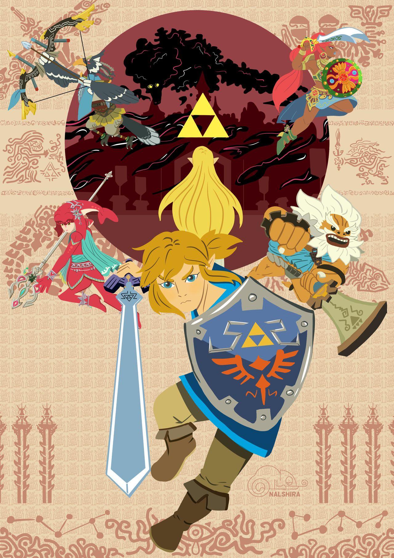Legend Of Zelda Breath Of The Wild Art By Nalshira Draws Link Princess Zelda The Champions Reva Legend Of Zelda Breath Of The Wild Legend Of Zelda Breath