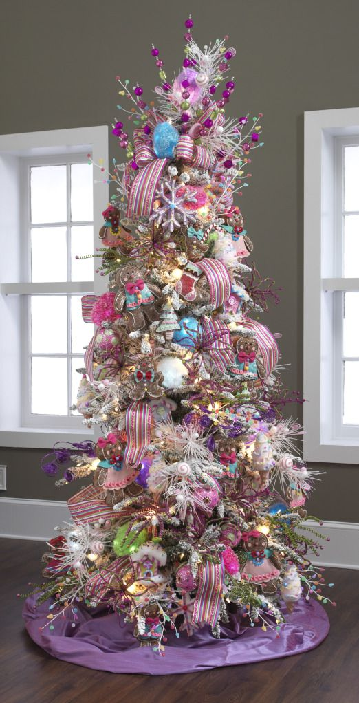 raz 2012 candy wonderland collection colorful christmas treedecorated - Candy Ornaments For Christmas Tree