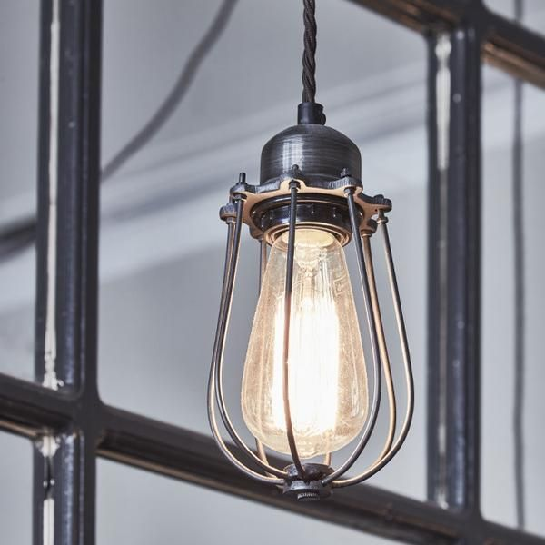 Orlando vintage cage pendant light dark pewter