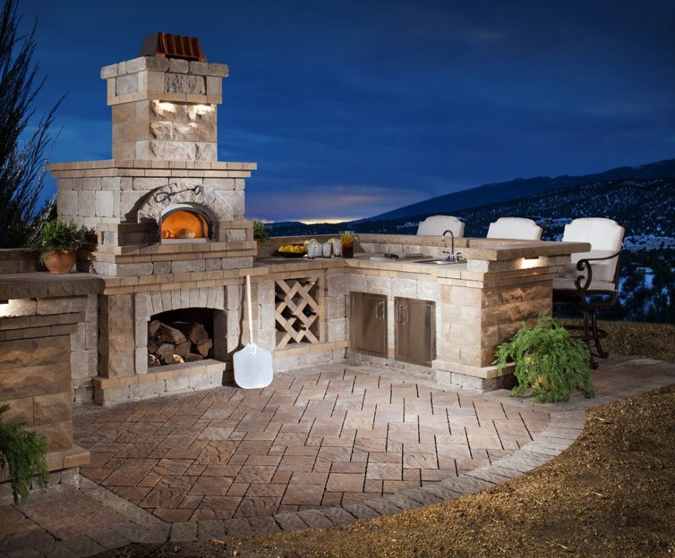 outdoor kitchens arizona pizza oven wall stone
