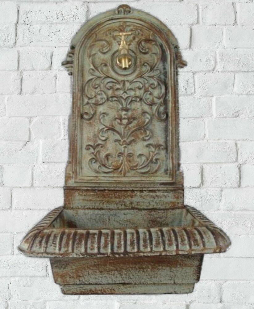 Wand Brunnen Farbig Patina Mit Becken Metall Messing Wasserhahn Neu Vintage In 2020 Messing Wasserhahn Vintage