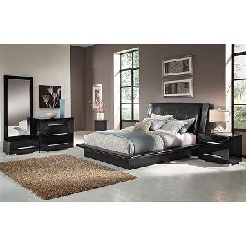 American Signature Furniture - Dimora Black Bedroom 6 Pc Queen
