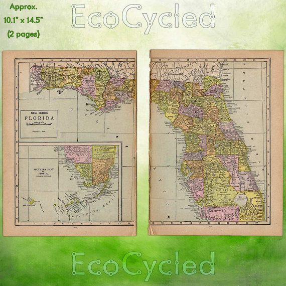 Full Map Of Florida.Vintage Atlas Map Of 1920 Florida Antique Map Full By Ecocycled