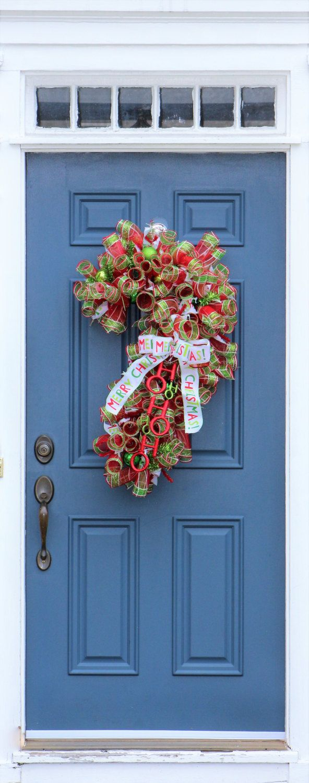 Grinch Christmas Decor, Curly Mesh Door Hanger , Mesh Candy Cane , Plaid Candy Cane Decor ,  XL Candy Cane , Merry Christmas Door Hanger by WreathObsessed on Etsy