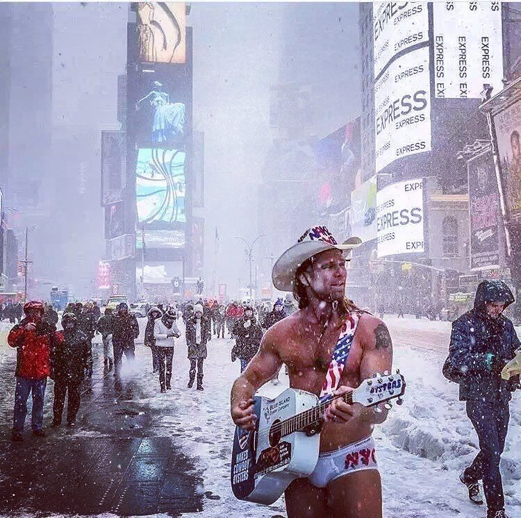 Cold Never Bothered Me Anyway-The snowstorm is gone but we can never forget the Naked Cowboy, Robert John Burck in Times Square. Credit to Dalton922. #pinkfrognyc #photography #wedesign #weprint #wearenewyork #wearepinkfrog #printing #printingservice #garments #tee #babyonesie #toddler #tote #apron #tie #handmade #newyork #pinkfrognyc.com#painting #artsanddesign #love #passion #Brooklyn #nakedcowboy #timessquare #snow #snowstorm #2016