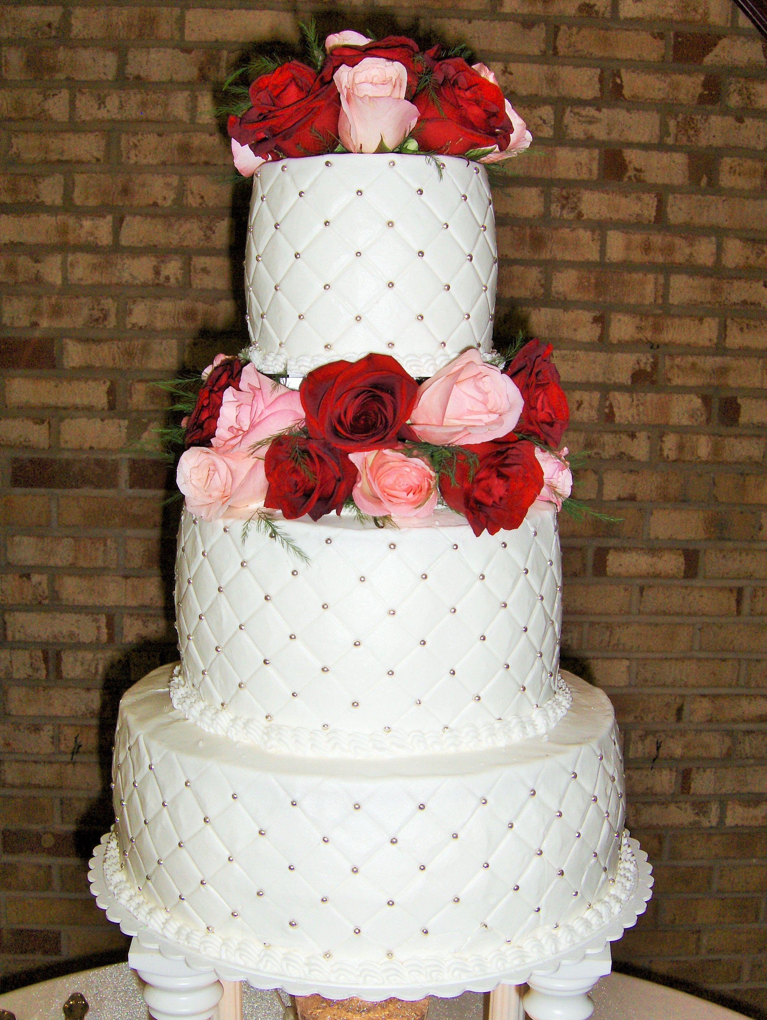 3 Tier Round Wedding Cake With Columns Diamond Pattern Silver