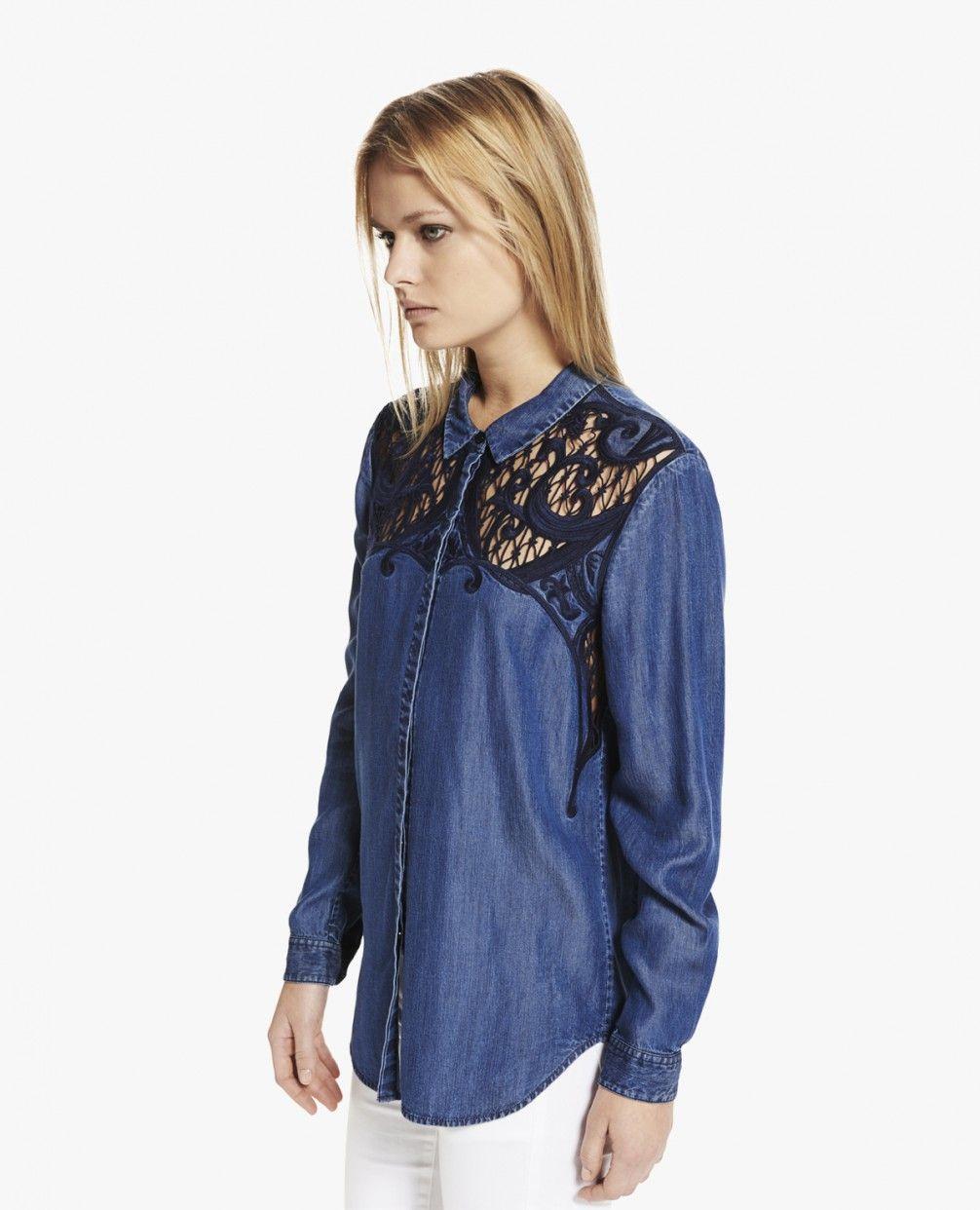 """Denim-Hemd mit Stickerei """"Baroque"""" - Alle Produkte - Woman - The Kooples"""