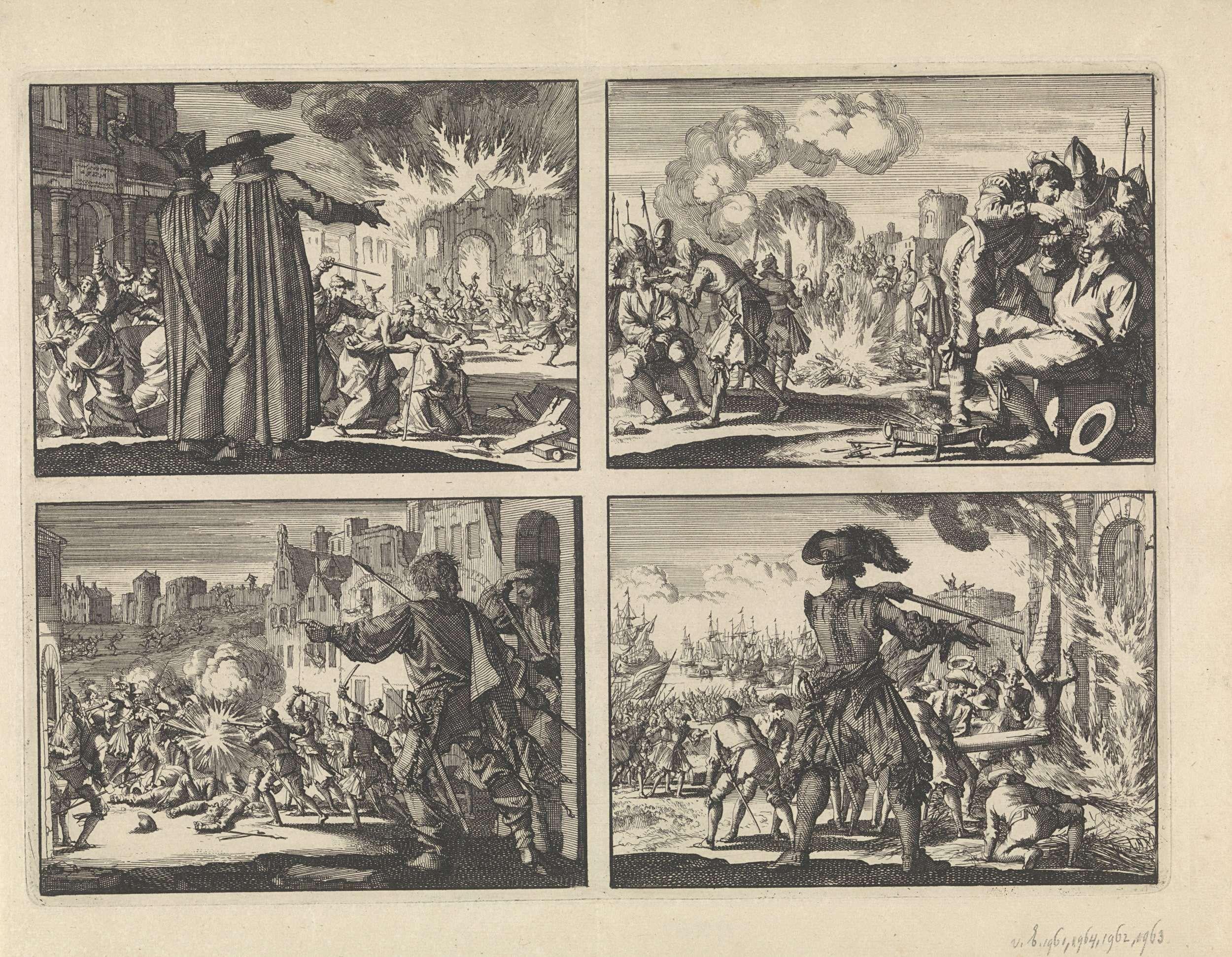 Jan Luyken | Vervolging van protestanten te Krakau met op de voorgrond twee Jezuïeten, 1606 / Vervolging van de hervormden in de Nederlanden, 1574 /  Straatgevechten in Genève ter verdediging tegen een aanval van Karel Emanuel, hertog van Savoye, 1602 / Inname van Den Briel, 1572, Jan Luyken, 1698 | Onversneden blad met vier prenten.