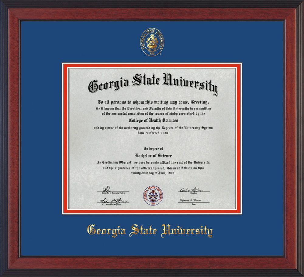 GSU Diploma Frame - Cherr Reverse - w/GSU Seal - Royal Blue on Red mat – Professional Framing Company