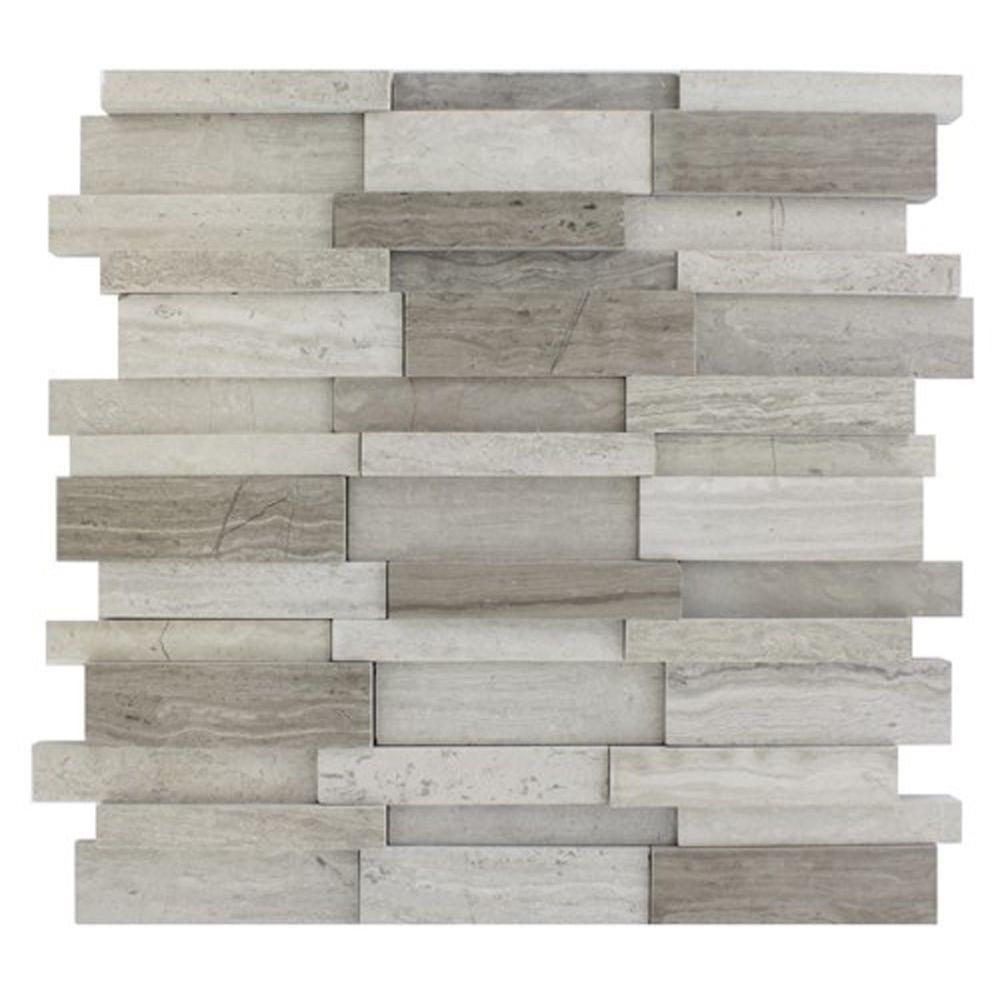 Splashback glass tile dimension 3d brick wooden beige for Dimensional tile backsplash