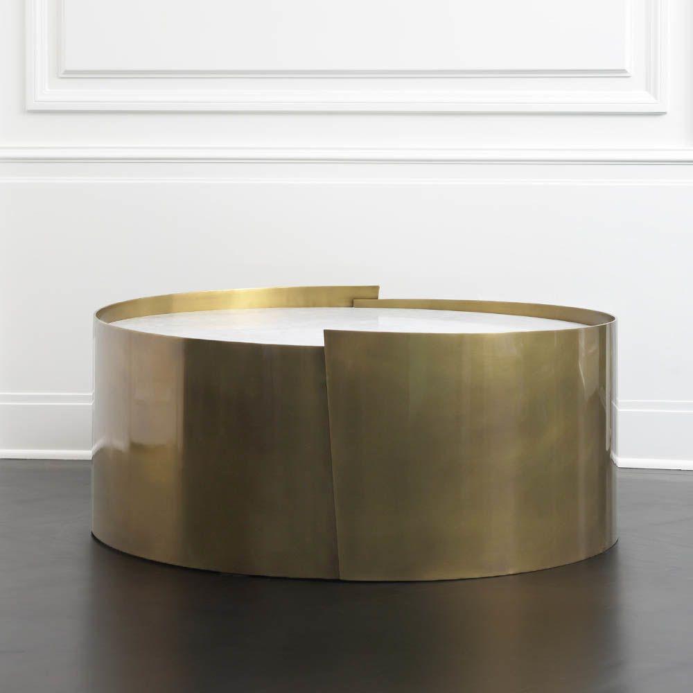 Santiago Modern Burnished Brass Drum Coffee Table: LIVING ROOM FURNITURE