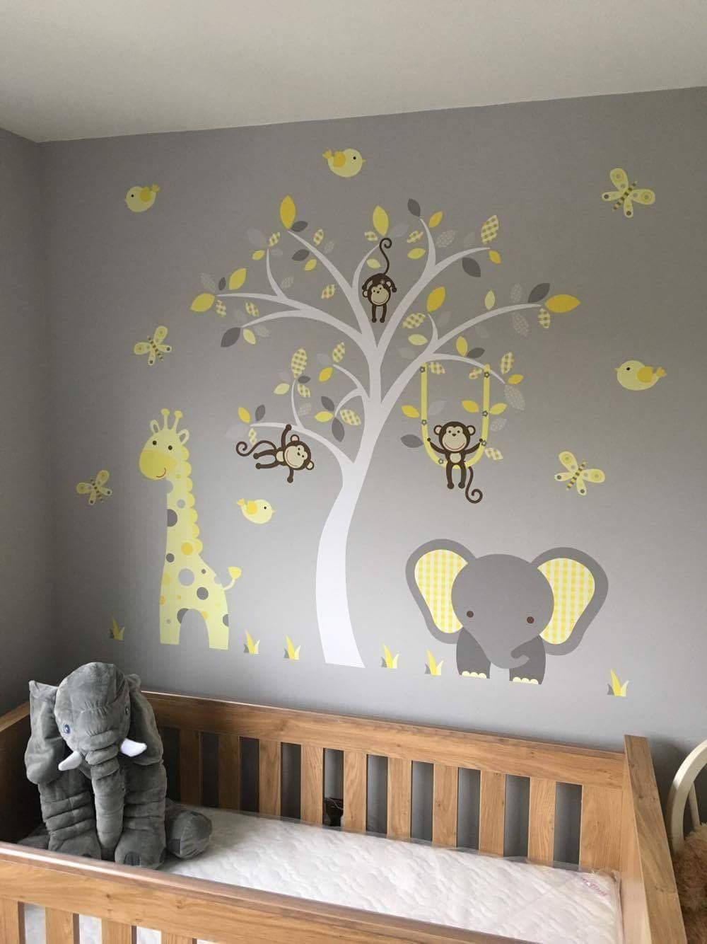 Jungle Decal, Gender Neutral Wall Stickers, Yellow and Grey nursery decor, swinging monkeys, a giraffe, a baby elephant a white tree mural