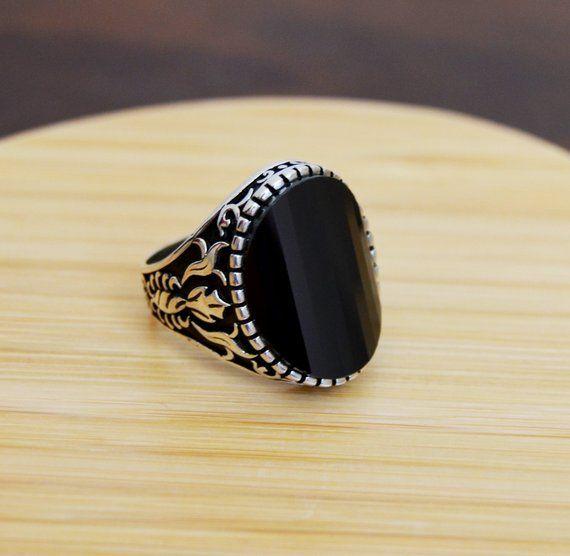 Piedra de ónice Negro turco hecha a mano joyería 925 Plata Anillo de Mans para hombre todos nosotros tamaño
