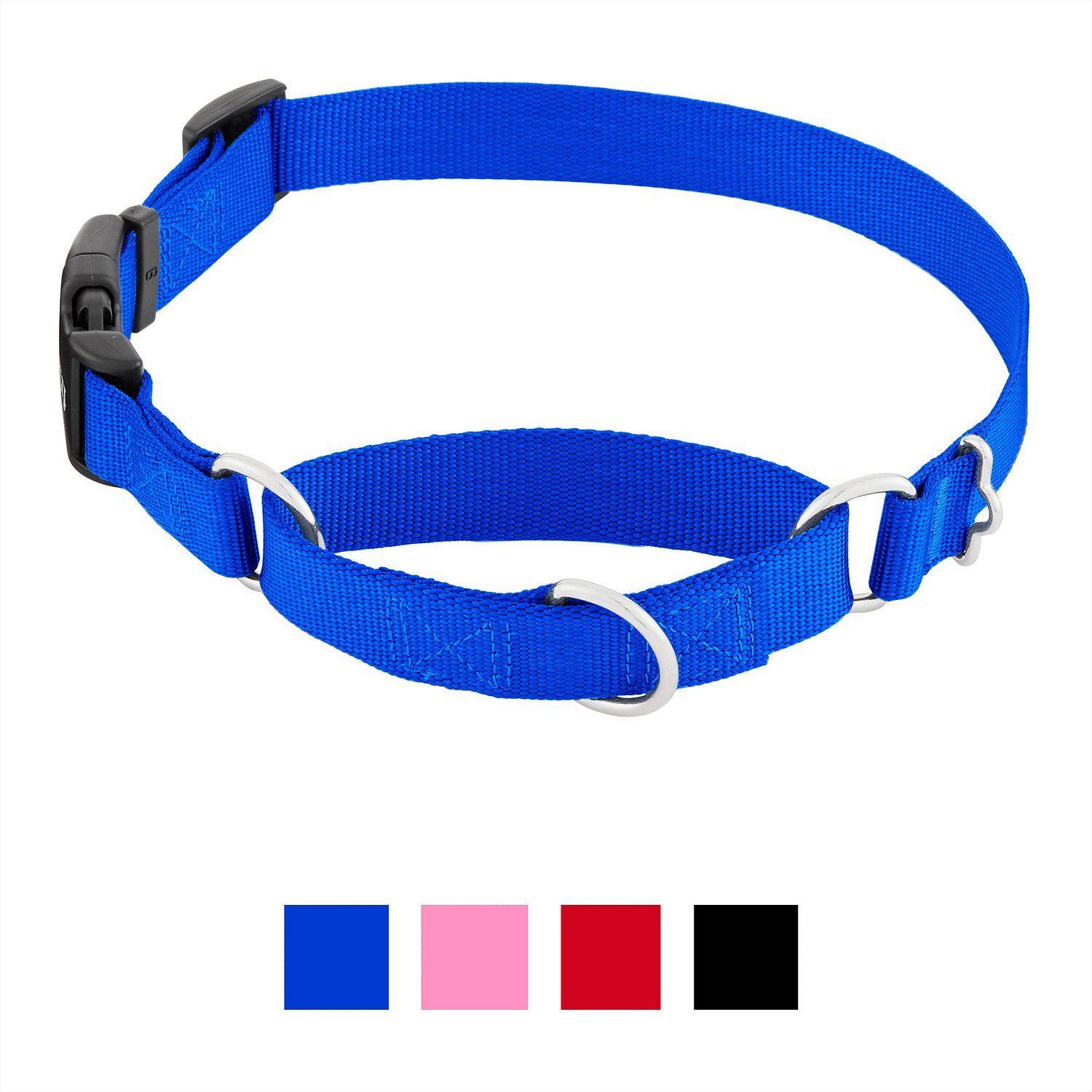 Frisco solid martingale dog collar with buckle blue