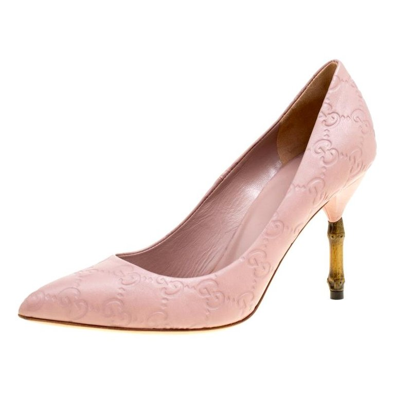 aab98eda7bb Gucci Pale Pink Guccissima Leather Kristen Bamboo Heel Pumps Size ...
