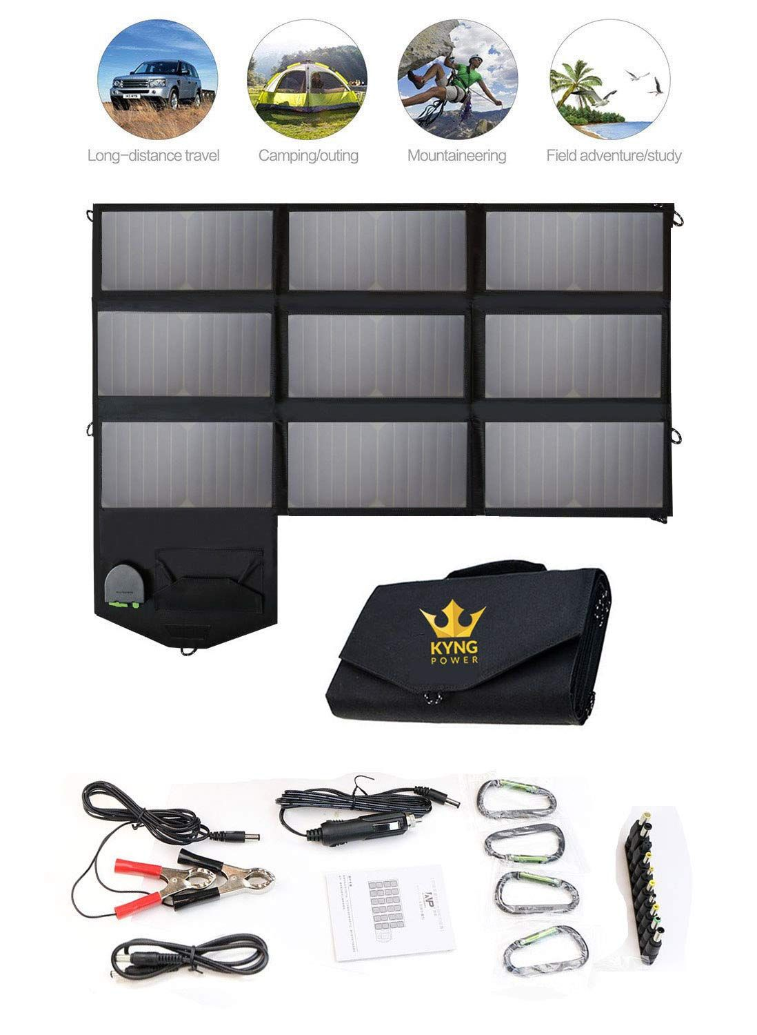 Kyng Power Foldable Solar Panel Charger Portable 60w Charger Solar Generator Panel Power Station Use Solar Panel Charger Solar Generator Portable Solar Panels
