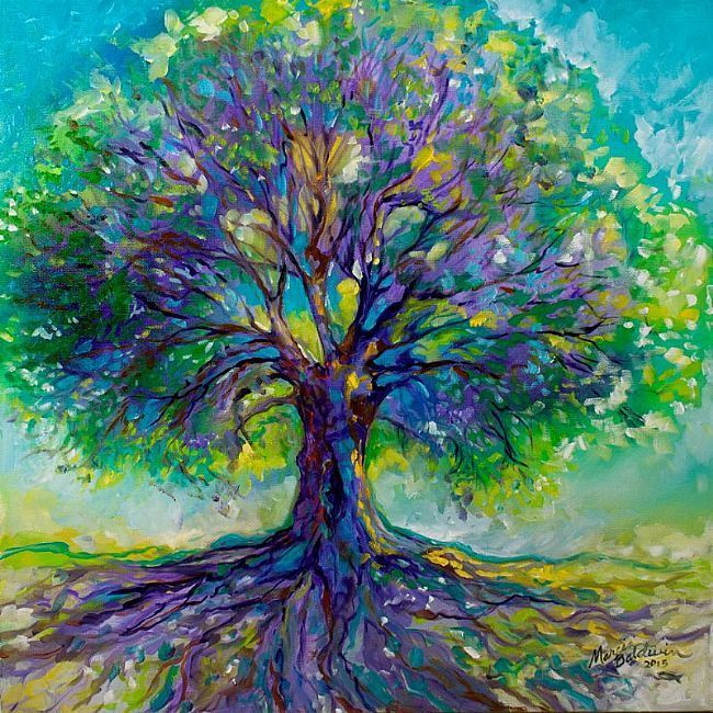 Art Purple Heart Tree Of Life By Marcia Baldwin From Abstracts