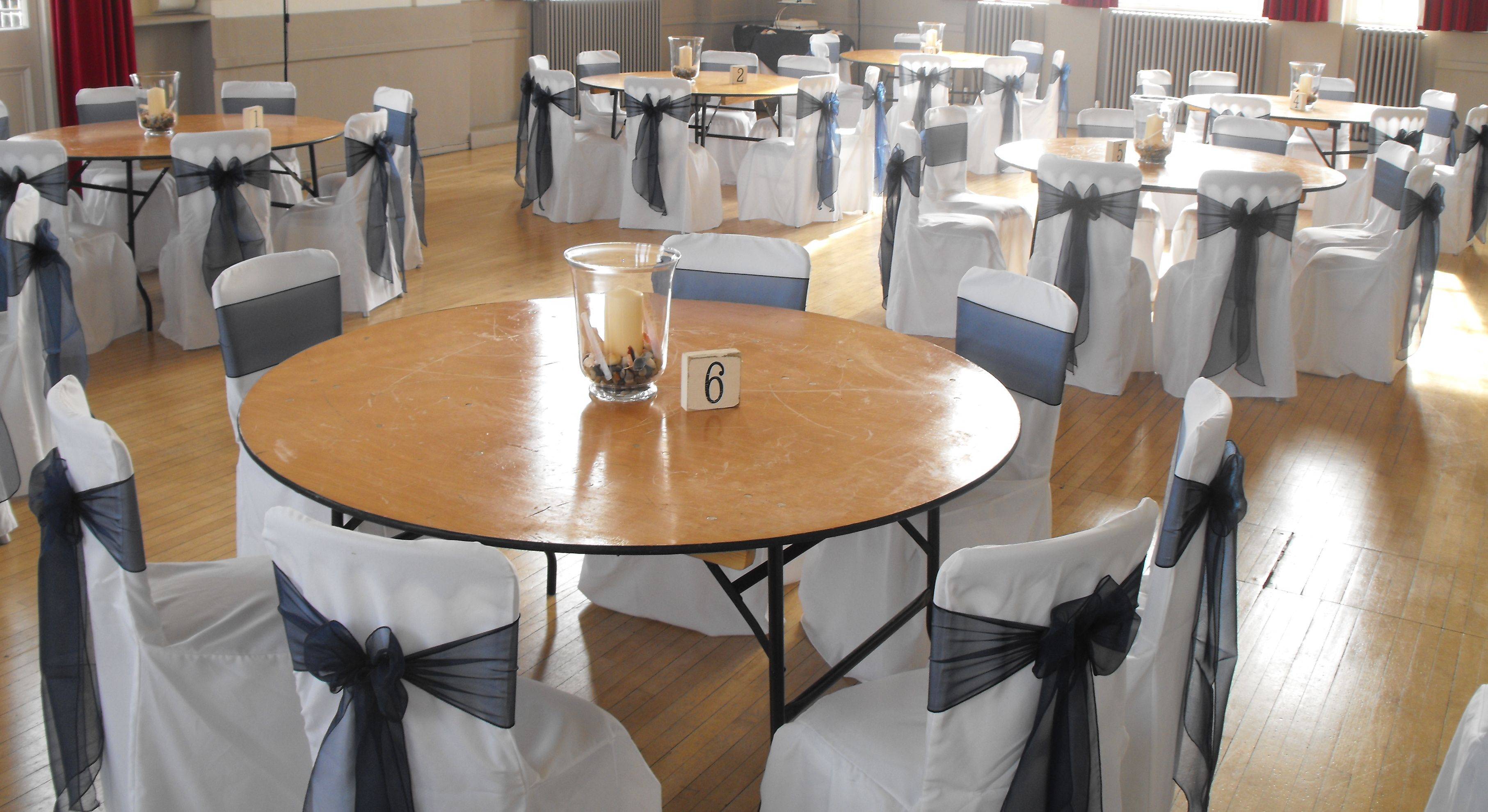 Navy Organza Bows On White Chair Covers Blue Bows Chair Covers