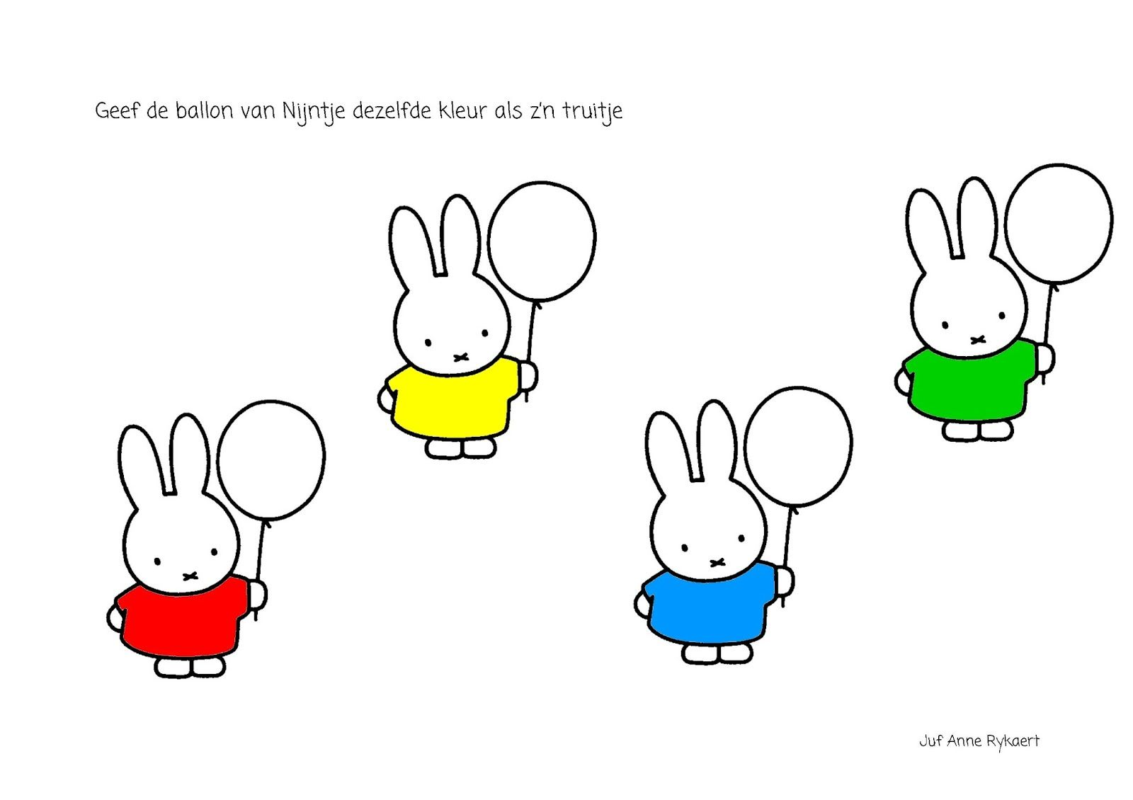 geef de ballon dezelfde kleur als de trui nijntje