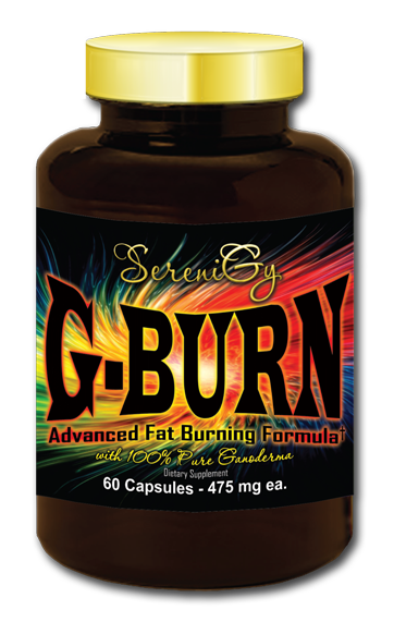 SereniGy G-Burn - G-Burn is proprietary herbal formula made with Cocoa extract, 100% Certified USDA Organic Ganoderma, Caffeine Anhydrous, Red Raspberry Ketone Extract and Geranamine which is an extract from the geranium plant.