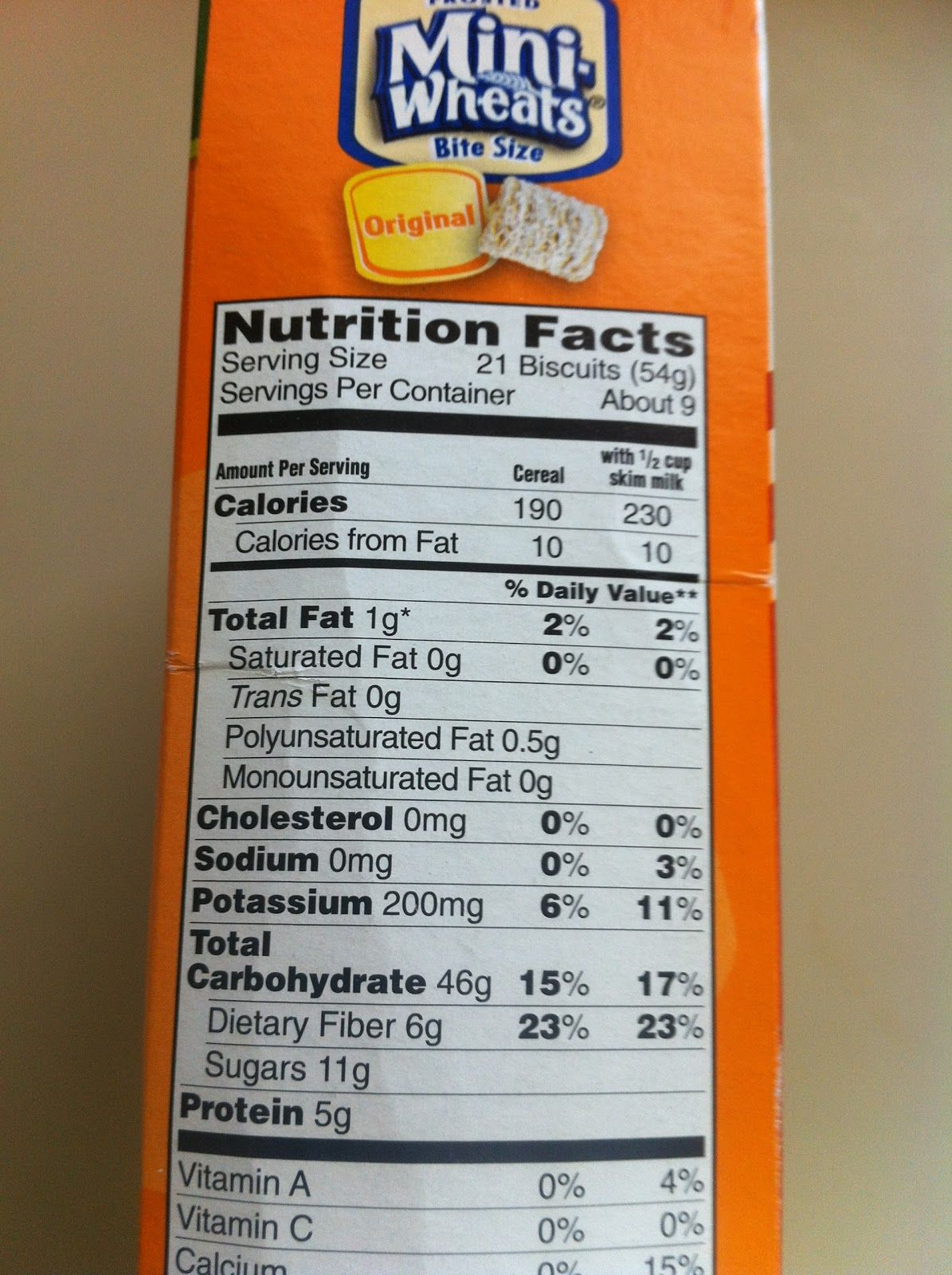 for example, pictured left is the nutrition facts for frosted mini