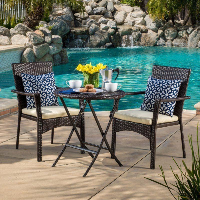 Outdoor Best Selling Home Decor Furniture Margaret Wicker 3 Piece Round  Bistro Set   297265