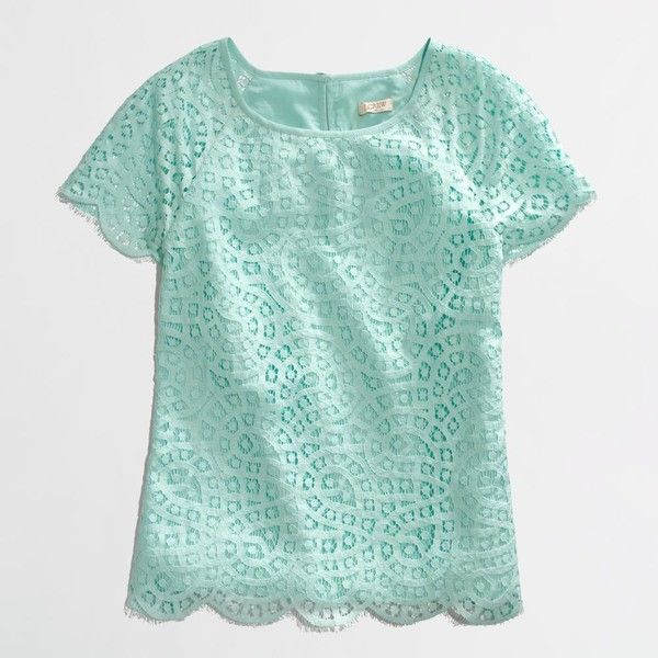Factory scalloped lace tee ($50) ❤ liked on Polyvore featuring tops, t-shirts, shirts, blouses, green top, green shirt, j crew t shirts, lace tee and green lace shirt