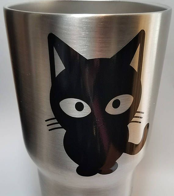 Cat Sitting Sam Drinking Vinyl Decal Stickers Vinyl Decal - Vinyl decal cat pinterest