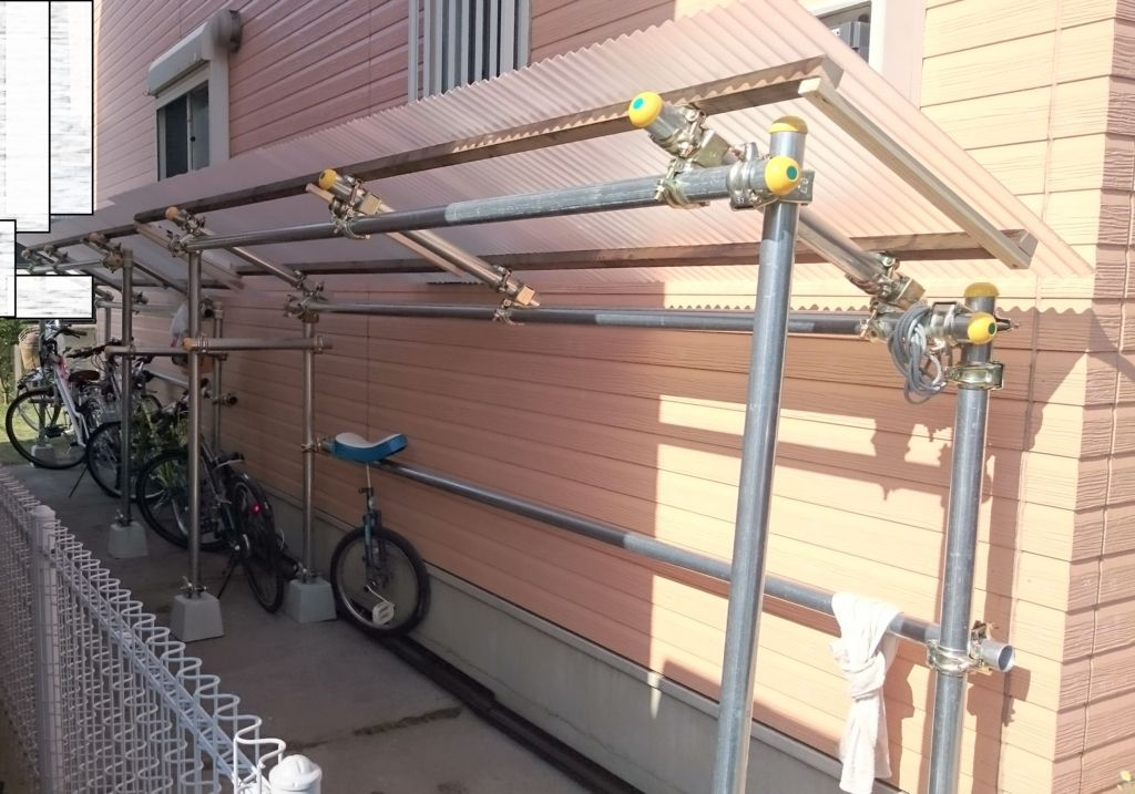 愛車を錆びさせない 自転車置き場を単管パイプで自作 Diy 自転車