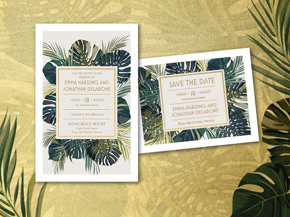 palm leaf wedding invitation vistaprint letterpress wedding
