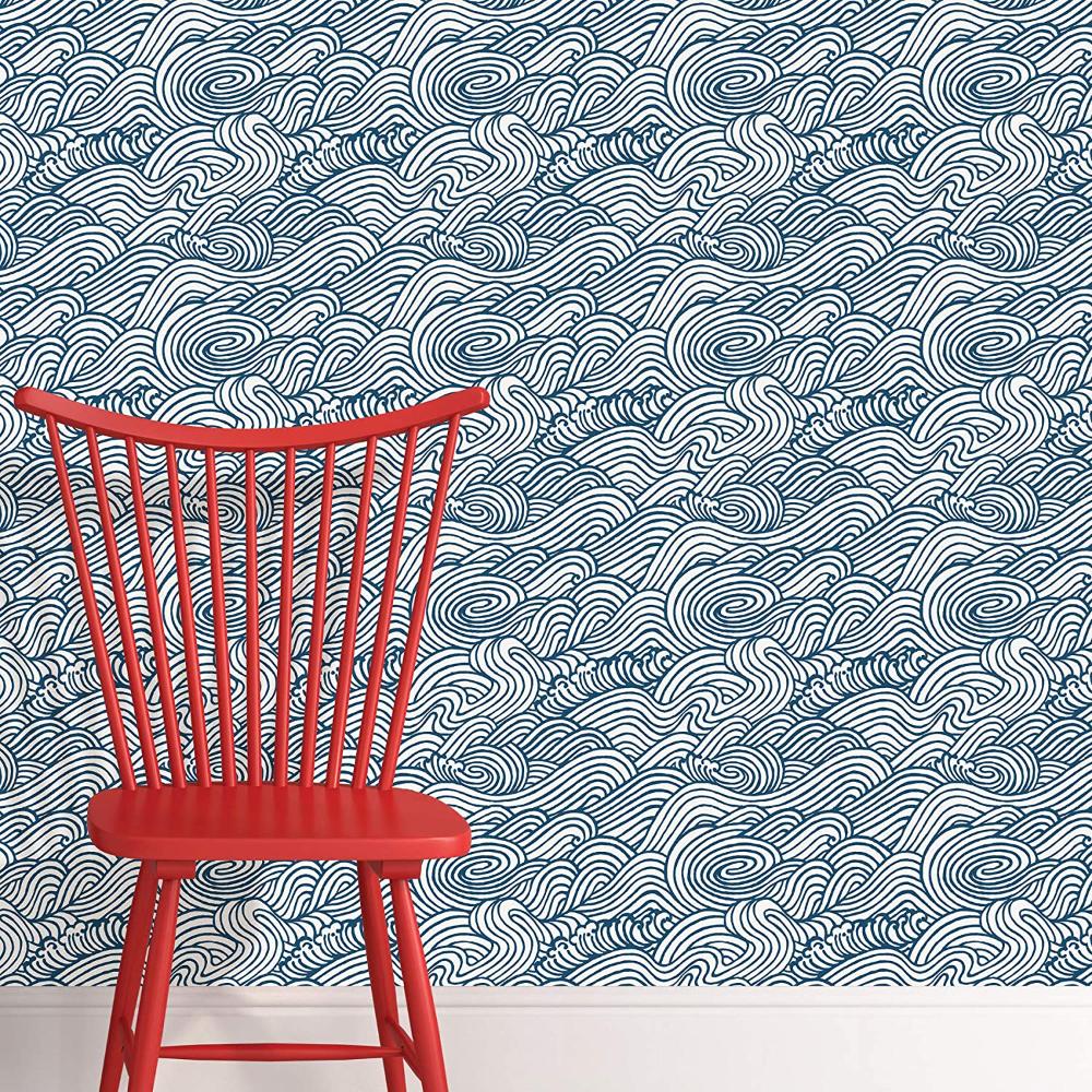 Nuwallpaper Nus3562 Navy Saybrook Peel Stick Wallpaper Blues Amazon Com Nuwallpaper Peel And Stick Wallpaper Wallpaper Roll