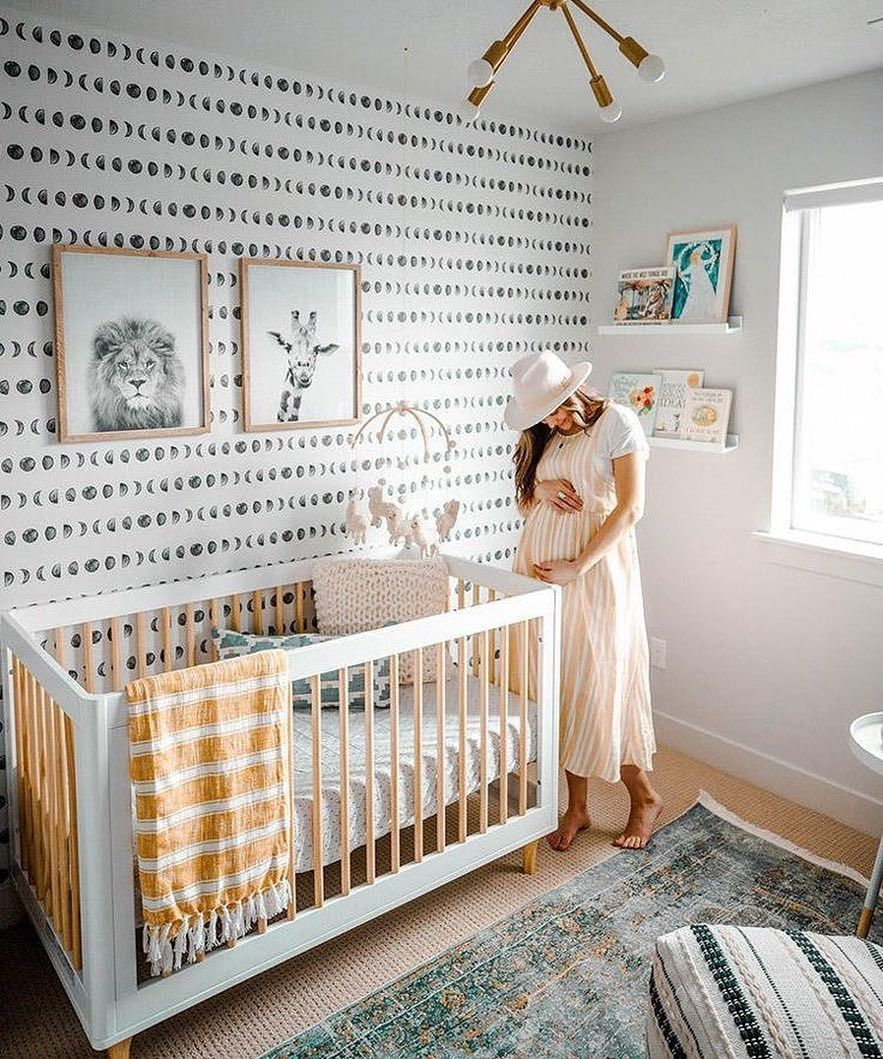 A Baby Boy Nursery With Preppy Plaid Wallpaper Boys Room