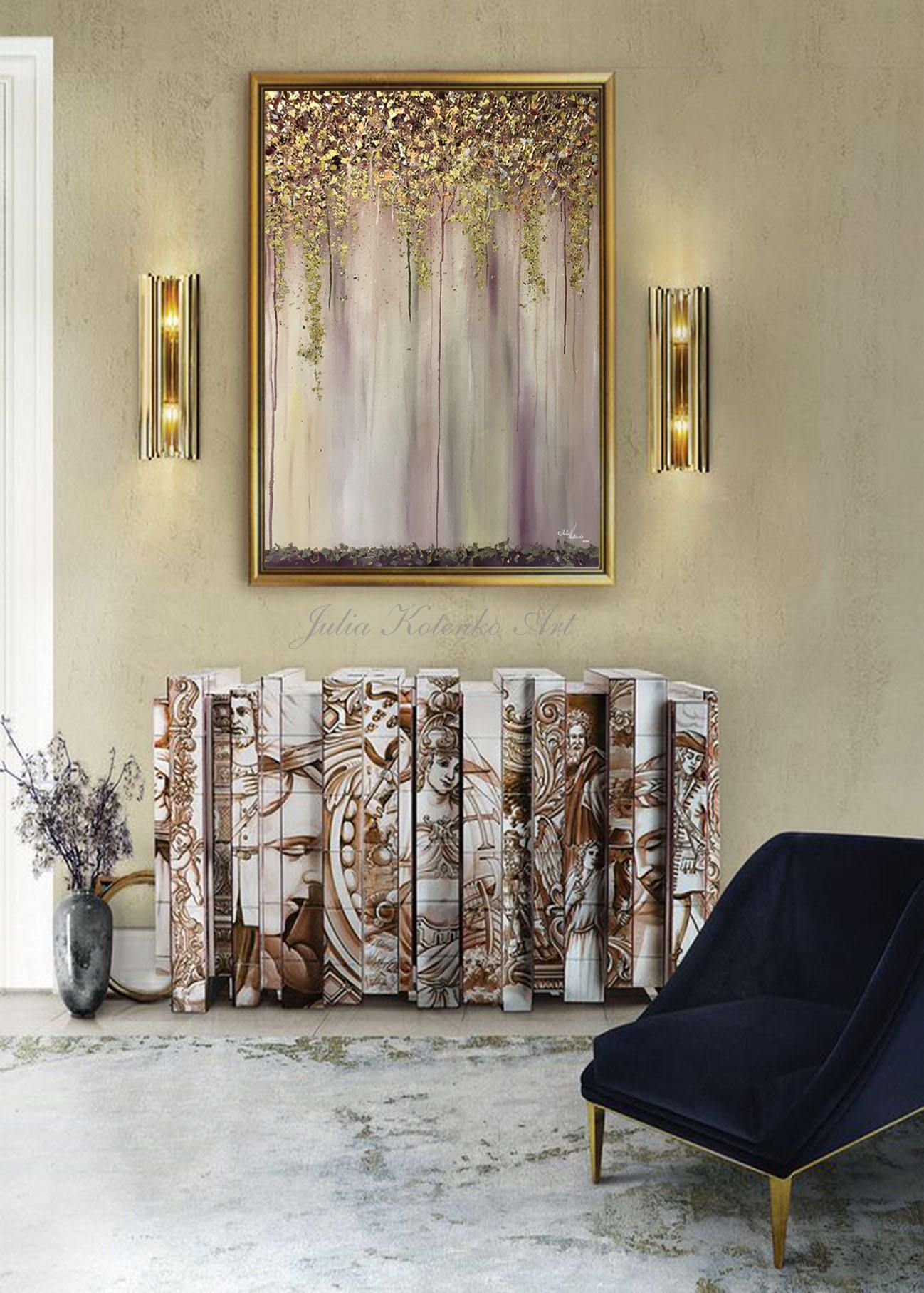 Large abstract oil painting wall art gold painting wall decor modern