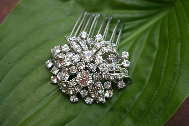 Bridal Crystal hair comb - Swarovski crystal vintage garden hair comb- Vintage Glam / Garden wedding. $27.99, via Etsy.