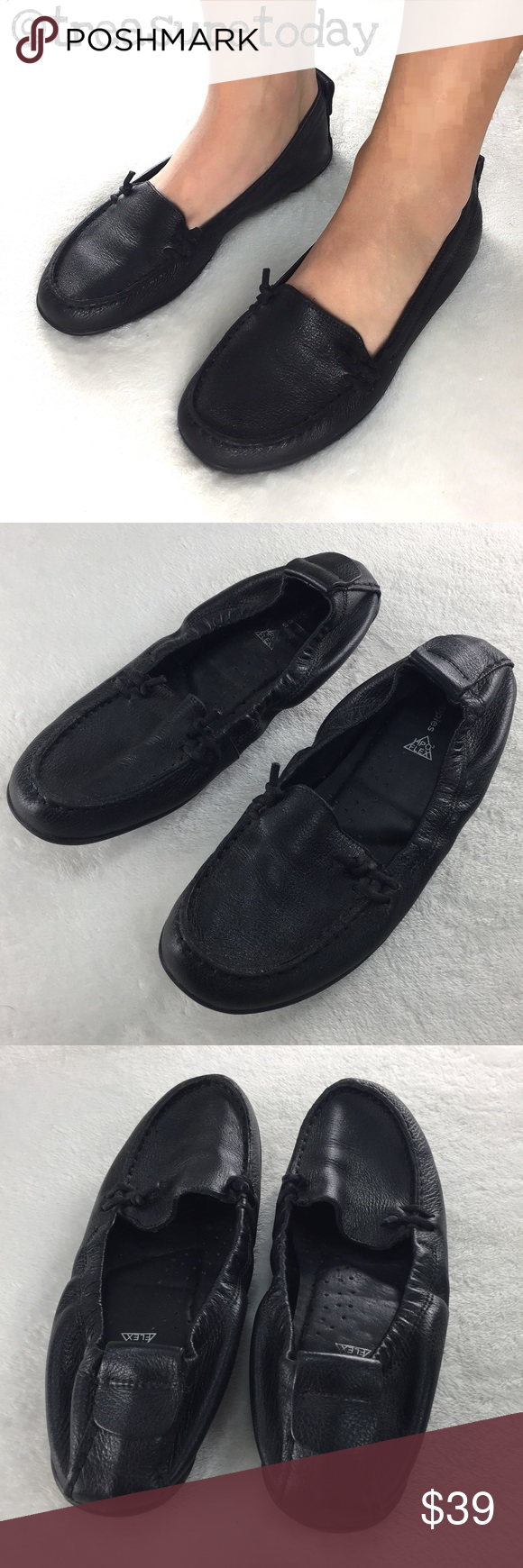 Hush Puppies Black Leather Flats Moccasins Black Leather Flats Leather Flats Hush Puppies Shoes