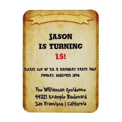 Brown And Old Childs Birthday Party Invitation Magnet