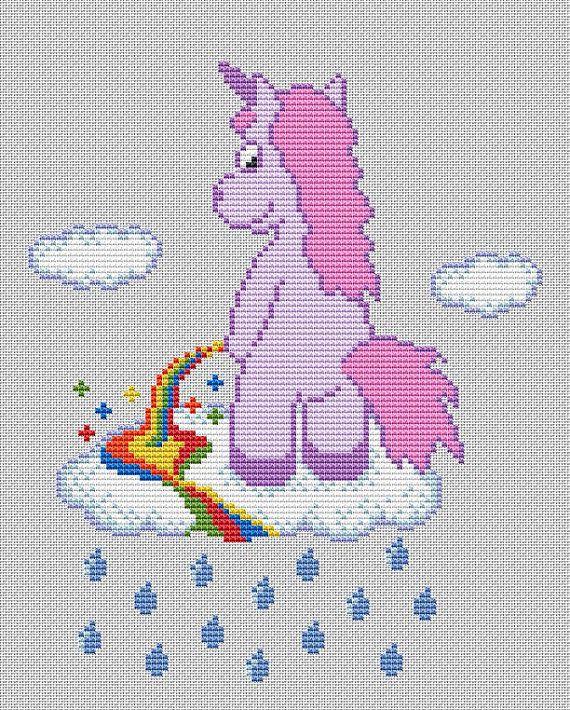 Funny Cross Stitch PDF Pattern Unicorn Pee Rainbow | Unicornio ...