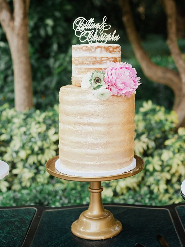 Naked wedding cake | Glamorous Black and Gold Miami Wedding By Merari Photography